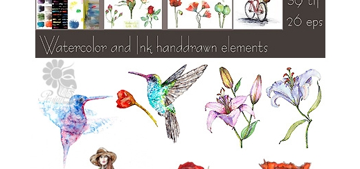 دانلود مجموعه تصاویر وکتور عناصر طراحی آبرنگی، گل و بوته، دختر، پس زمینه و ...