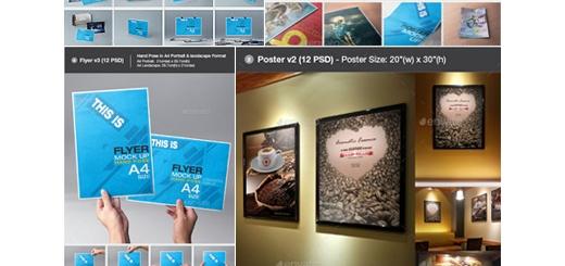 دانلود مجموعه تصاویر لایه باز قالب پیش نمایش یا موکاپ فلایر و پوستر