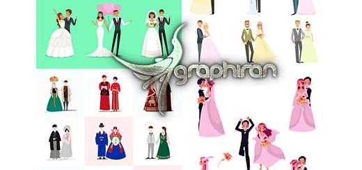 دانلود مجموعه تصاویر وکتور عروس و داماد