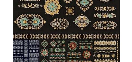 دانلود مجموعه تصاویر وکتور عناصر طراحی تزئینی گلدار، حاشیه، بت وجقه و پترن