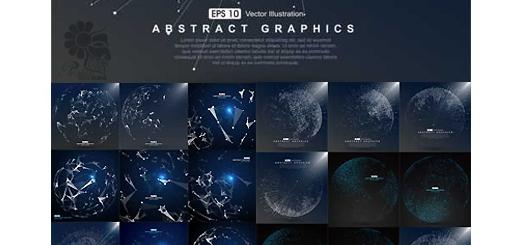 دانلود تصاویر وکتور طرح های ترکیبی نقطه و خط کره زمین و نقشه جهان