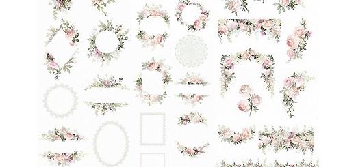 دانلود مجموعه تصاویر کلیپ آرت عناصر طراحی تزئینی گل رز، تکسچر، پترن، فریم و ..