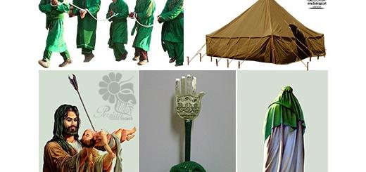 دانلود المان محرم شامل علم و کُتل و کلاه خود ، شمشیر ، نماد امام ، چادر ، گهواره