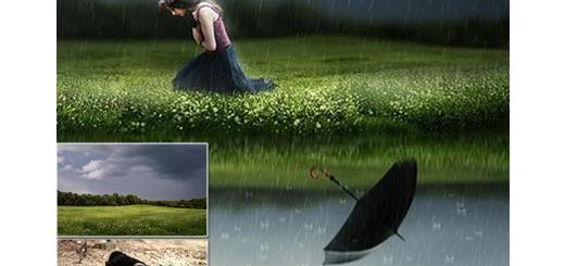 دانلود آموزش ایجاد منظره باران فانتزی در فتوشاپ به زبان فارسی