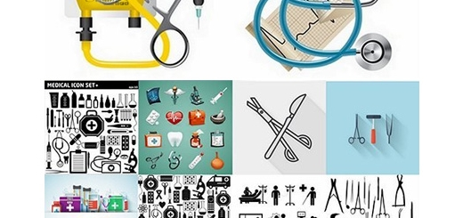 دانلود تصاویر وکتور آیکون تجهیزات پزشکی متنوع دارو، میکروسکوب، کمک های اولیه و ...