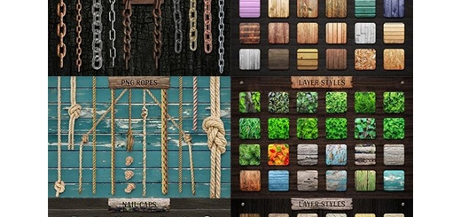 دانلود مجموعه ابزار فتوشاپ استایل با افکت چوبی، براش و کلیپ آرت برگ، زنجیر و پیچ و مهره