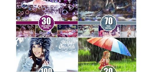 دانلود مجموعه کلیپ آرت عناصر طراحی بادکنک، ذرات درخشنده جادویی، برف زمستانی، باران، حباب و قلب