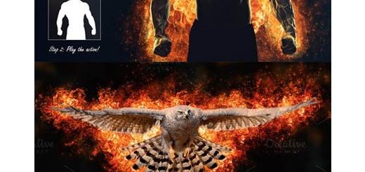 دانلود اکشن فتوشاپ ایجاد افکت آتش گرفتن بر روی تصاویر