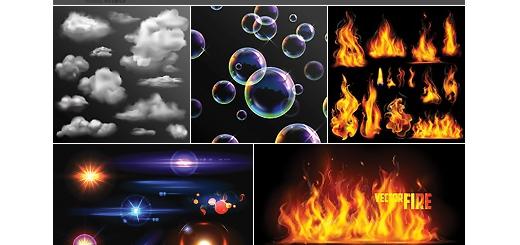 دانلود تصاویر وکتور افکت های نورانی و عناصر طراحی متنوع، ابر، آتش و ..