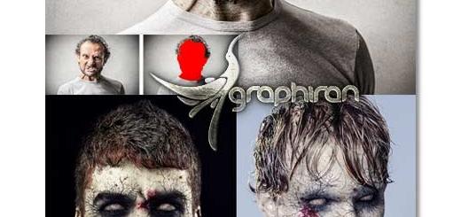 کشن فتوشاپ تبدیل چهره به زامبی Zombie Photoshop Action