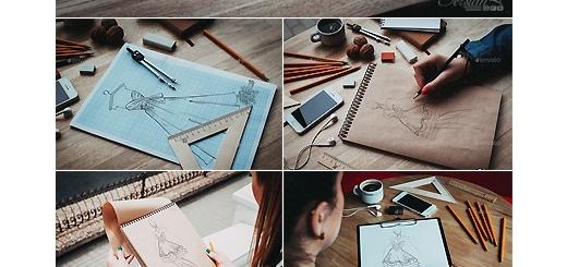 دانلود 17 موکاپ لایه باز طرح های اولیه نقاشی