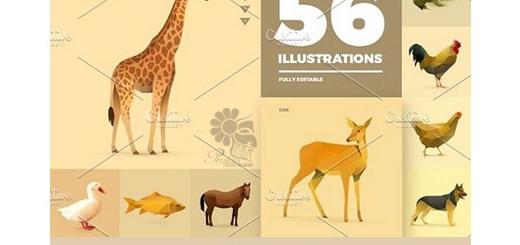 دانلود 56 تصویر وکتور چند ضلعی حیوانات متنوع، سنجاب، روباه، زرافه، گاو و ...