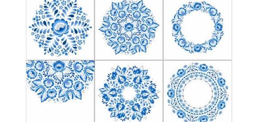 دانلود تصاویر وکتور عناصر تزئینی گلدار آبی رنگ