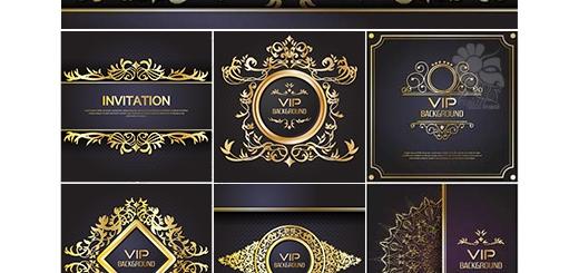 دانلود تصاویر وکتور قالب آماده فلایر، فریم و بک گراندهای تزئینی طلایی