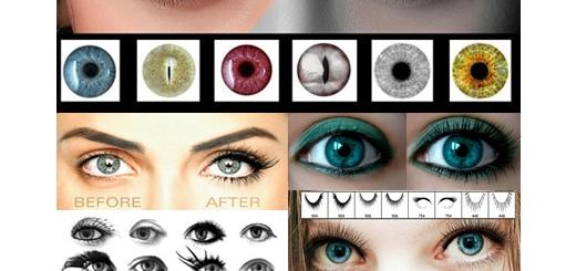 دانلود براش فتوشاپ مژه و لنز رنگی چشم