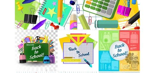 دانلود تصاویر وکتور عناصر طراحی کارت پستال مدرسه، لوازم التحریر، کتاب، کیف مدرسه و ...