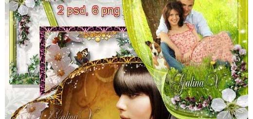 دانلود فریم و قاب عاشقانه طراحی شده با شکوفه های بهاری