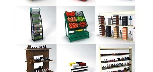دانلود مجموعه مدل های آماده سه بعدی قفسه های تزئینی فروشگاه، رگال لباس، قفسه کفش، یخچال و ...