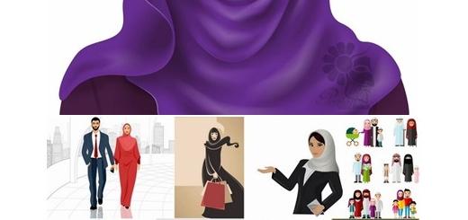 دانلود تصاویر وکتور کارتونی دختران و زنان مسلمان با حجاب