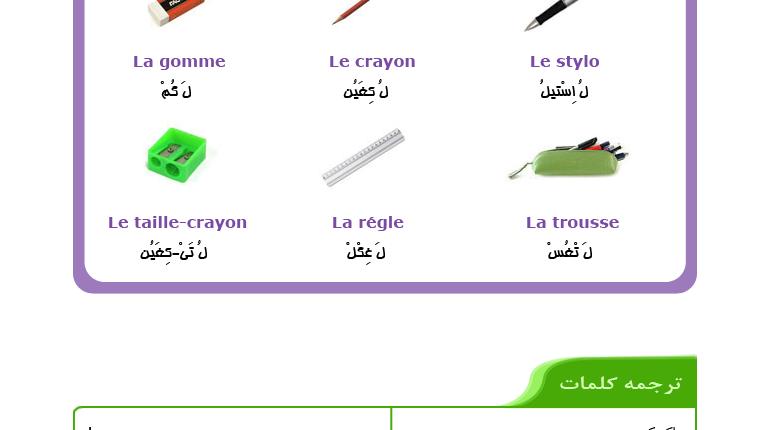 درس هشتم آموزش زبان فرانسه - کلمات ابتدایی