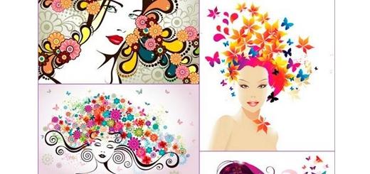 دانلود تصاویر وکتور زن های زیبا در گل های رنگارنگ