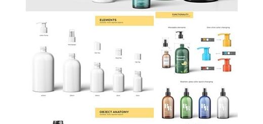 دانلود مجموعه موکاپ لایه باز بطری های لوازم آرایشی و بهداشتی