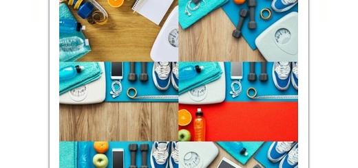 دانلود تصاویر با کیفیت وسایل تناسب اندام و کاهش وزن، ترازو، دمبل، کفش اسپرت و ...