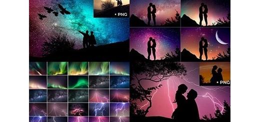 دانلود مجموعه کلیپ آرت سایه منظره و بک گراند آسمان شب به همراه اکشن فتوشاپ