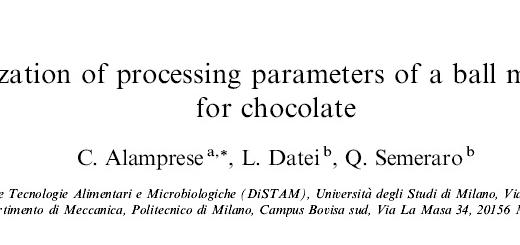 ترجمه مقاله بهبود سازی پارامترهای پردازش پالایشگاه آسیاب شکلات