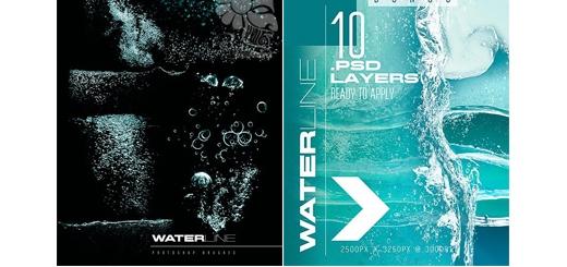 دانلود براش فتوشاپ مسیر آب و حباب های در آب