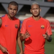 ویدئو رقابت بازیکنان بارسلونا با چشمان بسته