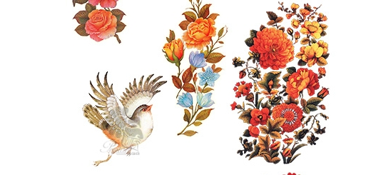 دانلود 7 تصویر کلیپ آرت گل و مرغ اسلیمی و مینیاتوری