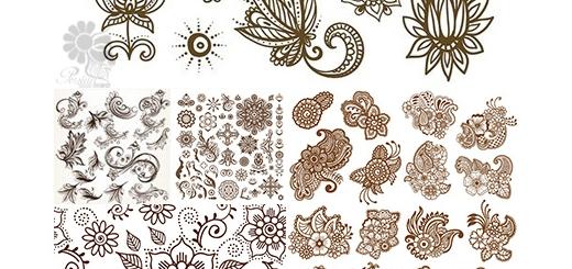 دانلود تصاویر وکتور طرح های تزئینی گل و بوته، بت و جقه و ...