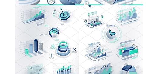 دانلود تصاویر وکتور عناصر طراحی نمودارهای اینفوگرافیکی سه بعدی