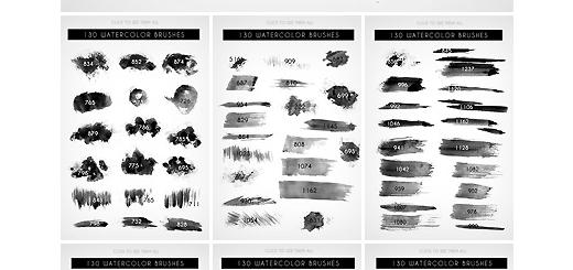 دانلود 130 براش فتوشاپ لکه های آبرنگی متنوع برای طراحی