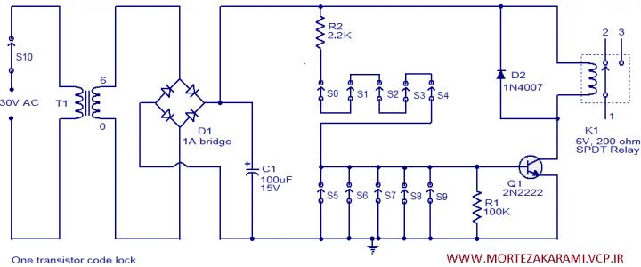 مدارقفل الکترونیک یک ترانزیستوری