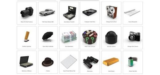 دانلود مجموعه تصاویر لایه باز وسایل مامور مخفی، دوربین، اسلحه، دستبند، پول، اتومبیل و