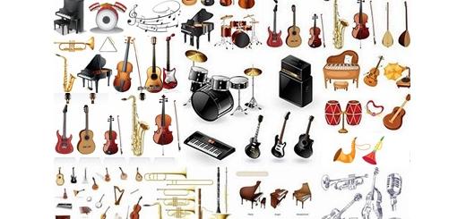 دانلود مجموعه تصاویر وکتور آلات موسیقی، گیتار، پیانو، ویلن