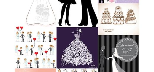 دانلود تصاویر وکتور عناصر طراحی کارت عروسی، عروس و داماد، کیک عروسی، حلقه ازدواج و ...