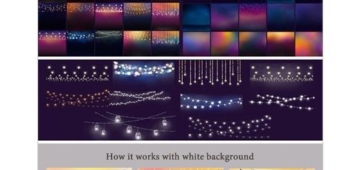 دانلود کلیپ آرت تصاویر ریسه های چراغ های رنگی
