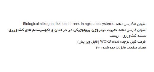 ترجمه مقاله یکپارچه سازی درختان و تحکیم نیتروژن بیولوژیکی در کشت