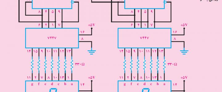 پروژه شمارنده دورقمی 0تا99 باآی سی های TTL