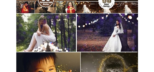 دانلود مجموعه تصاویر کلیپ آرت بوکه نورانی کریسمس، بوکه درخشان، گرد و غبار درخشان و ذرات طلایی درخشان