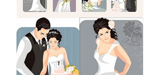دانلود تصاویر وکتور عروس و داماد زیبا