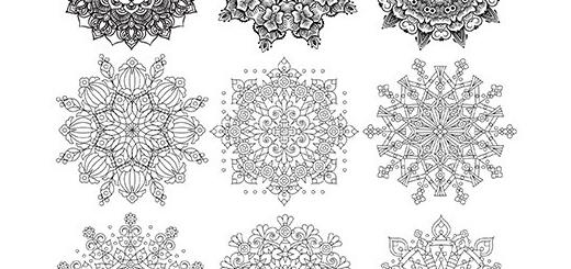 دانلود تصاویر وکتور طرح های آماده ماندالا، اشکال هندسی تزئینی
