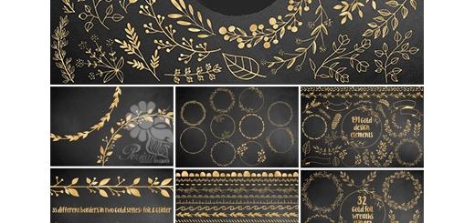 دانلود 191 تصویر کلیپ آرت عناصر طراحی طلایی، فریم، روبان و قاب و حاشیه