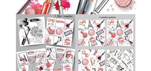 دانلود تصاویر کلیپ آرت لوازم آرایشی، براش و عناصر طراحی