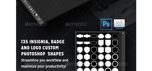 دانلود اشکال لایه باز متنوع روبان، آرم، ستاره و ... برای فتوشاپ - Graphicriver 135 Insignia Badge And Logo Custom PSD Shapes