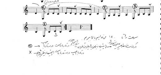نت درس ۸۷ کتاب دستور سه تار ابتدایی حسین علیزاده با حاشیه نگاری نیما فریدونی