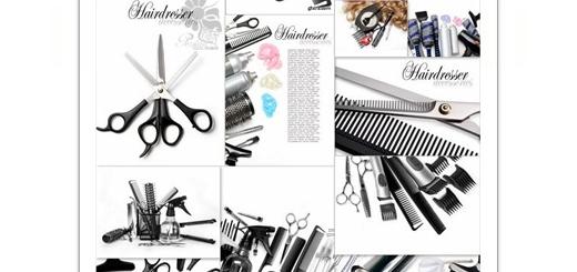 دانلود تصاویر با کیفیت وسایل آرایشگاه، قیچی، آبپاش، شانه و ...